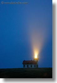 blues, buildings, california, colors, dusk, lightbeam, lighthouses, lights, mendocino, slow exposure, structures, vertical, west coast, western usa, photograph