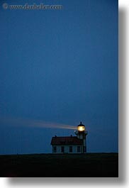 blues, buildings, california, colors, dusk, lighthouses, mendocino, structures, vertical, west coast, western usa, photograph