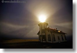 buildings, california, fog, glow, horizontal, lighthouses, lights, long exposure, mendocino, nature, nite, structures, west coast, western usa, photograph