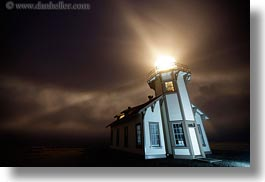 buildings, burst, california, flash, fog, glow, horizontal, lighthouses, lights, long exposure, mendocino, nature, nite, structures, west coast, western usa, photograph