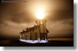 base, buildings, california, fog, glow, glowing, horizontal, lighthouses, lights, long exposure, mendocino, nature, nite, structures, west coast, western usa, photograph