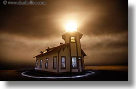 buildings, california, circles, fog, glow, glowing, horizontal, lighthouses, lights, long exposure, mendocino, nature, nite, structures, west coast, western usa, photograph