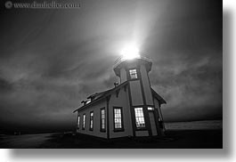 black and white, buildings, california, fog, glow, glowing, horizontal, lighthouses, lights, long exposure, mendocino, nature, nite, structures, west coast, western usa, windows, photograph
