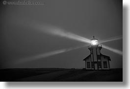 beams, black and white, blues, buildings, california, colors, horizontal, lightbeam, lighthouses, lights, mendocino, nite, slow exposure, structures, west coast, western usa, photograph