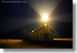 beams, buildings, california, horizontal, lightbeam, lighthouses, lights, long exposure, mendocino, nite, structures, west coast, western usa, photograph