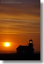 buildings, california, clouds, colors, lighthouses, mendocino, nature, oranges, silhouettes, sky, structures, sun, sunsets, vertical, west coast, western usa, photograph