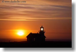 buildings, california, clouds, colors, horizontal, lighthouses, mendocino, nature, oranges, silhouettes, sky, structures, sun, sunsets, west coast, western usa, photograph