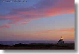 buildings, california, clouds, colorful, colors, dusk, horizontal, lighthouses, mendocino, nature, pink, sky, structures, sun, sunsets, west coast, western usa, photograph