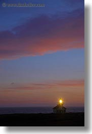 buildings, california, clouds, colorful, colors, dusk, lighthouses, mendocino, nature, sky, structures, sun, sunsets, vertical, west coast, western usa, photograph