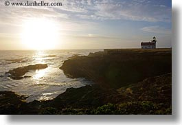 buildings, california, horizontal, lighthouses, mendocino, nature, ocean, silhouettes, sky, structures, sun, sunsets, water, west coast, western usa, photograph
