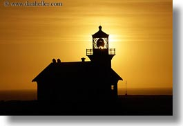 buildings, california, colors, horizontal, lighthouses, mendocino, nature, oranges, silhouettes, sky, structures, sun, sunsets, west coast, western usa, photograph