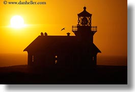 birds, buildings, california, colors, horizontal, lighthouses, mendocino, nature, oranges, silhouettes, sky, structures, sun, sunsets, west coast, western usa, photograph