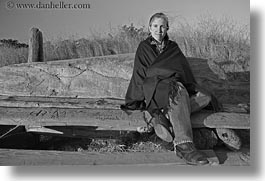 benches, black and white, california, horizontal, jills, mendocino, people, poncho, west coast, western usa, womens, photograph