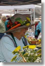 california, clothes, flowers, gardeners, hats, mendocino, nature, people, senior citizen, vertical, wearing, west coast, western usa, womens, photograph
