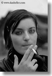 black and white, california, cigarettes, mendocino, people, smokers, vertical, west coast, western usa, womens, young, photograph