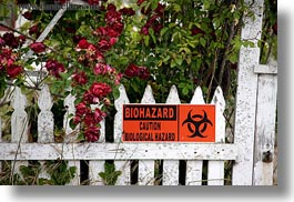 biohazard, california, emotions, fences, flowers, horizontal, humor, mendocino, signs, structures, west coast, western usa, photograph
