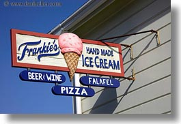 california, frankies, horizontal, ice cream, mendocino, shops, signs, west coast, western usa, photograph