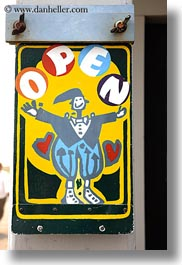 california, clown, mendocino, open, signs, vertical, west coast, western usa, photograph