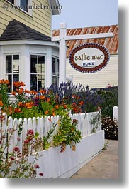 california, fences, flowers, mac, mendocino, sallie, signs, vertical, west coast, western usa, photograph