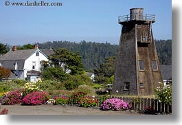 buildings, california, flowers, horizontal, mendocino, nature, structures, towers, water towers, west coast, western usa, photograph