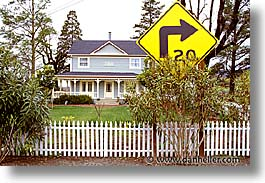 california, horizontal, houses, napa, signs, west coast, western usa, photograph