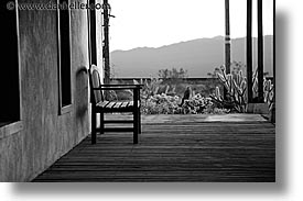 benches, black and white, california, horizontal, hotels, nipton, porch, west coast, western usa, photograph
