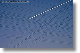 california, horizontal, nipton, planes, trails, west coast, western usa, wires, photograph