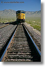 california, nipton, trains, vertical, west coast, western usa, yellow, photograph