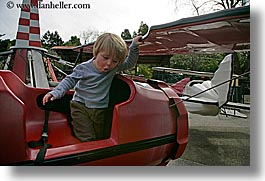 airplane, amusement park ride, boys, california, childrens, horizontal, humor, jacks, oakland zoo, red, toddlers, west coast, western usa, photograph