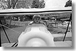 airplane, amusement park ride, black and white, boys, california, childrens, horizontal, jacks, oakland zoo, toddlers, west coast, western usa, white, photograph