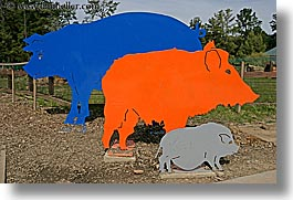 arts, california, colored, horizontal, metal, oakland zoo, pigs, west coast, western usa, photograph