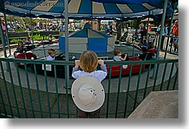 amusement park ride, california, childrens, driving, hats, horizontal, oakland zoo, people, watching, west coast, western usa, photograph