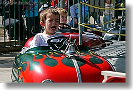 amusement park ride, boys, california, cars, childrens, crying, horizontal, oakland zoo, people, west coast, western usa, photograph