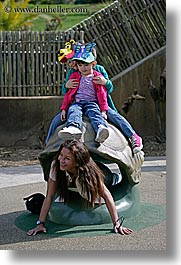 california, childrens, girls, happy, hats, mothers, oakland zoo, people, vertical, west coast, western usa, photograph