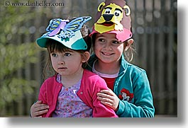 california, childrens, girls, happy, hats, horizontal, oakland zoo, people, west coast, western usa, photograph