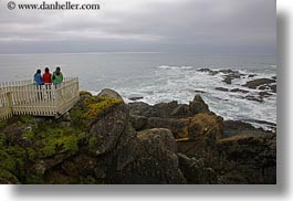 california, colorful, fences, girls, horizontal, jackets, picket fence, pigeon point lighthouse, structures, west coast, western usa, photograph