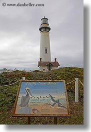 california, lighthouses, pigeon point lighthouse, signs, vertical, west coast, western usa, photograph