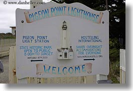 california, horizontal, lighthouses, pigeon point lighthouse, signs, west coast, western usa, photograph