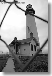 black and white, california, fences, lighthouses, pigeon point lighthouse, vertical, west coast, western usa, photograph