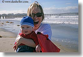 babies, beaches, boys, california, childrens, clothes, emotions, happy, horizontal, jack and jill, jills, laugh, mothers, nature, ocean, people, san diego, smiles, sunglasses, water, waves, west coast, western usa, womens, photograph