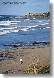 beaches, california, nature, ocean, running, san diego, vertical, water, waves, west coast, western usa, womens, photograph