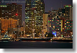 buildings, california, cityscapes, horizontal, long exposure, nite, san diego, structures, west coast, western usa, photograph