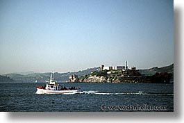 alcatraz, california, horizontal, san francisco, tug, west coast, western usa, photograph