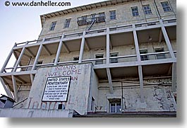alcatraz, california, horizontal, indians, san francisco, signs, welcome, west coast, western usa, photograph