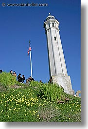 alcatraz, california, flagpole, lighthouses, san francisco, vertical, west coast, western usa, photograph