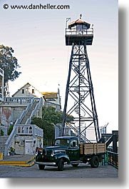 alcatraz, california, old, san francisco, towers, trucks, vertical, watches, west coast, western usa, photograph