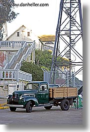 alcatraz, california, old, san francisco, trucks, vertical, west coast, western usa, photograph
