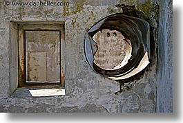 alcatraz, california, horizontal, round, san francisco, squares, vents, west coast, western usa, windows, photograph