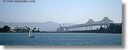 bay, bay bridge, bridge, california, horizontal, islands, panoramic, san francisco, treasure, west coast, western usa, photograph