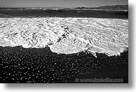 beaches, black and white, california, foam, horizontal, san francisco, west coast, western usa, photograph